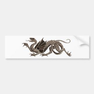 Heraldic Dragon in Sepia Bumper Sticker