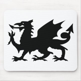 Heraldic Dragon Silohuette Mouse Pads