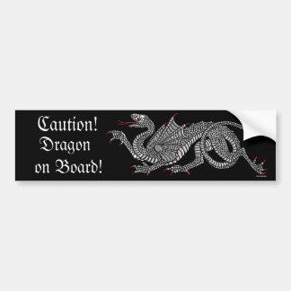 Heraldic Dragon (Silver) - Bumper Sticker