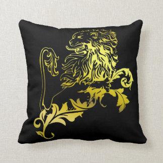 Heraldic Gold Lion - classic & modern cushion Throw Pillow