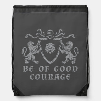Heraldic Good Courage Drawstring Backpack