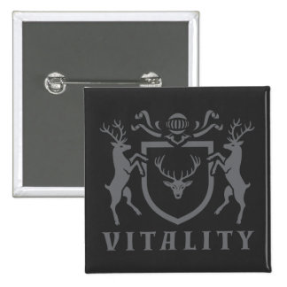 Heraldic Gray Vitality Stag Button