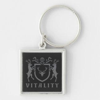 Heraldic Gray Vitality Stag Keychain