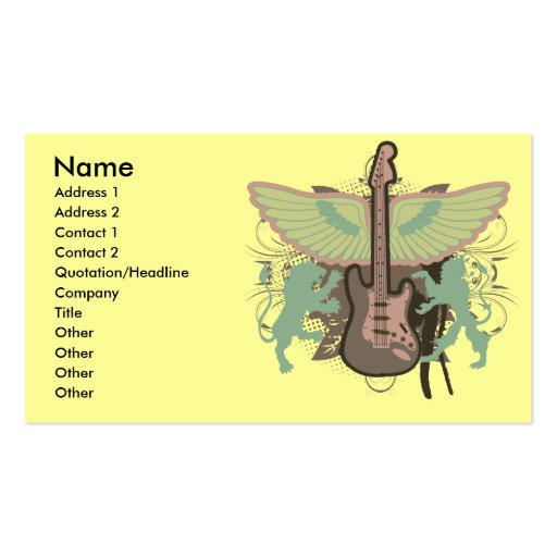 heraldic guitar vector design Double-Sided standard business cards (Pack of 100)