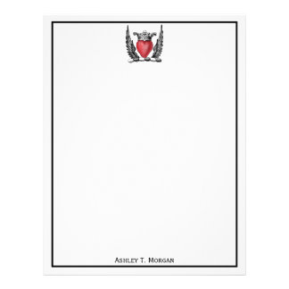 Heraldic Heart with Wings Coat of Arms Crest Letterhead