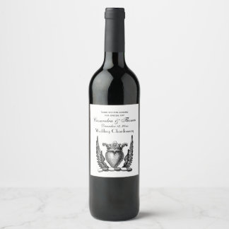 Heraldic Heart with Wings Coat of Arms Crest Wine Label