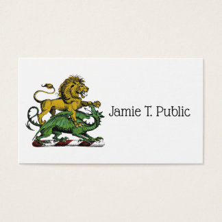 Heraldic Lion and Dragon Crest Emblem Business Card