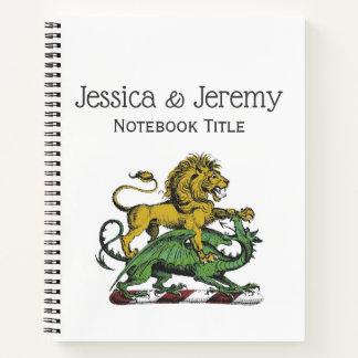 Heraldic Lion and Dragon Crest Emblem Notebook