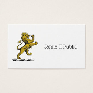 Heraldic Lion Standing Crest Emblem C Business Card