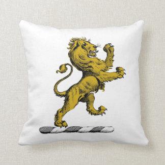 Heraldic Lion Standing Crest Emblem C Throw Pillow