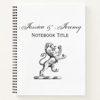 Heraldic Lion Standing Crest Emblem Notebook