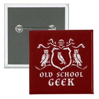 Heraldic Owl Geek Button