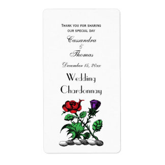 Heraldic Rose & Thistle Coat of Arms Crest Color Label