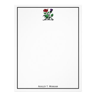 Heraldic Rose & Thistle Coat of Arms Crest Color Letterhead