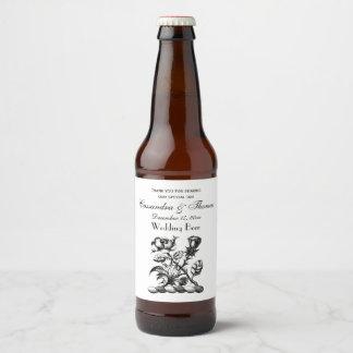 Heraldic Rose & Thistle Coat of Arms Crest Emblem Beer Bottle Label