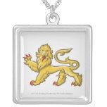 Heraldic symbol of lion statant guardant square pendant necklace