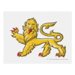 Heraldic symbol of lion statant guardant postcard
