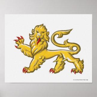 Heraldic symbol of lion statant guardant poster