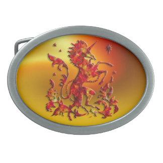 Heraldic Unicorn: Flames Oval Belt Buckle