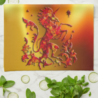Heraldic Unicorn: Flames Kitchen Towel
