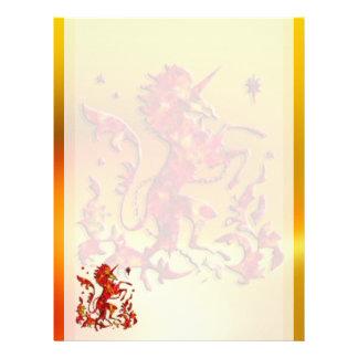 Heraldic Unicorn: Flames Custom Letterhead