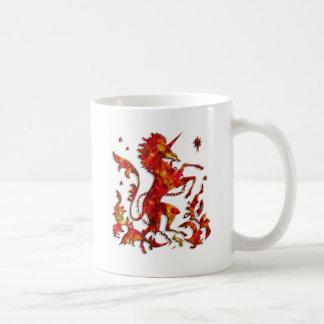 Heraldic Unicorn: Flames Mugs
