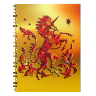 Heraldic Unicorn: Flames Spiral Notebook
