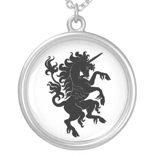 Heraldic Unicorn Round Pendant Necklace