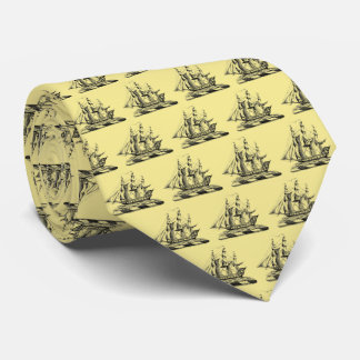 Heraldic Vintage Nautical Clipper Ship Crest Tie
