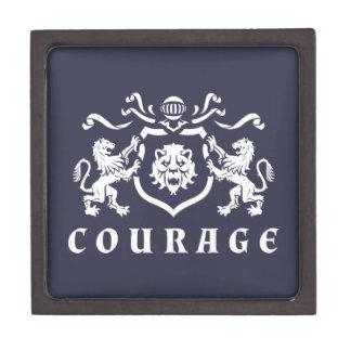 Heraldic White Lions Courage Blazon Jewelry Box