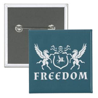Heraldic White Pegasus Pinback Button