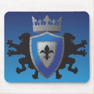 Heráldica medieval azul Mousepad del león Tapetes De Ratones