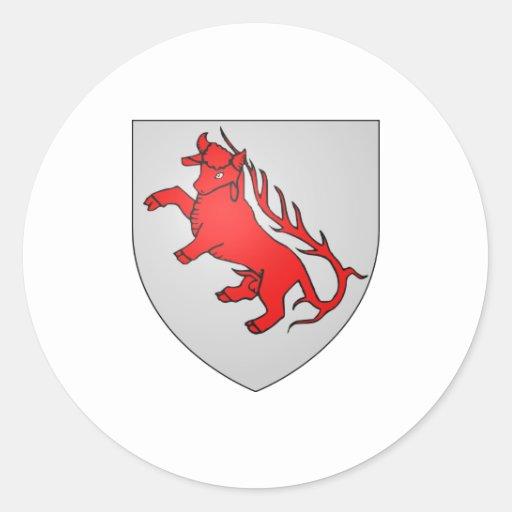 Heráldica oficial del símbolo de Armoiries Pegatina Redonda
