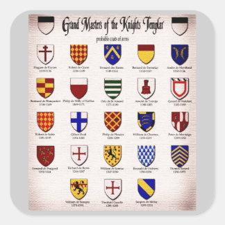 Heráldica principal de Templar Pegatina Cuadrada