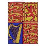 Heráldica roja del azul y del oro tarjeta