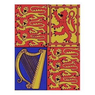 Heráldica roja del azul y del oro postal