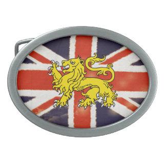 Heraldry Lion  Vintage Union Jack Belt Buckle