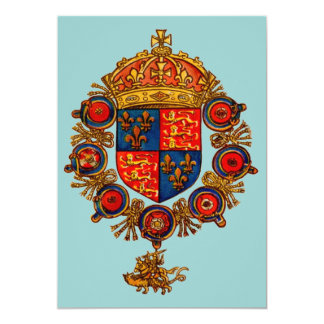 Heraldry With Crown 13 Cm X 18 Cm Invitation Card