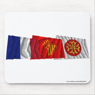 Hérault, Languedoc-Roussillon & France flags Mousepad