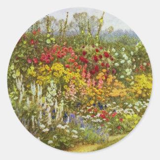 Herb and Flower Border Classic Round Sticker