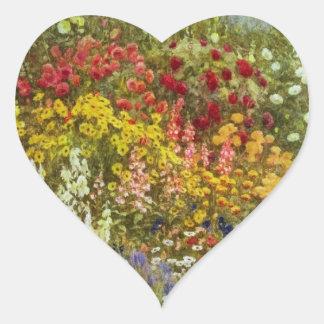 Herb and Flower Border Heart Sticker