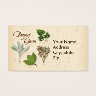 Herb Bouquet Recipe, Bay, Thyme, Sage, Parsley Business Card