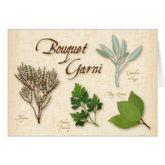 Herb Bouquet, Recipe, Bay, Thyme, Sage, Parsley Greeting Card
