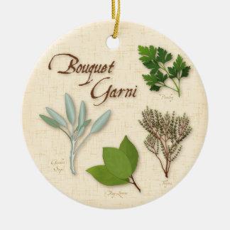 Herb Bouquet Recipe, Bay, Thyme, Sage, Parsley Ceramic Ornament