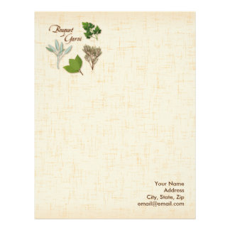 Herb Bouquet, Recipe, Bay, Thyme, Sage, Parsley Letterhead