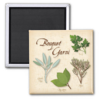 Herb Bouquet, Recipe, Bay, Thyme, Sage, Parsley 2 Inch Square Magnet