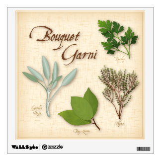 Herb Bouquet, Recipe, Bay, Thyme, Sage, Parsley Room Stickers