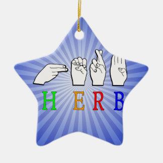 HERB FINGERSPELLED ASL NAME SIGN CERAMIC ORNAMENT
