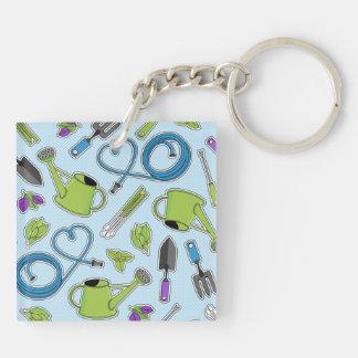 Herb Garden Blue Keychain