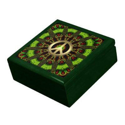 Herb Garden Green Mandala Peace Jewelry Gift Box